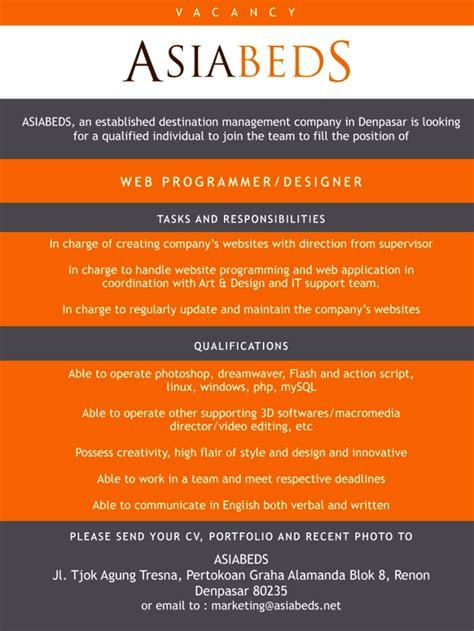 lowongan kerja fashion design jakarta lowongan kerja web programmer designer blog indonesia