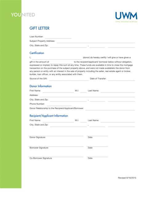 fillable gift letter template united wholesale mortgage
