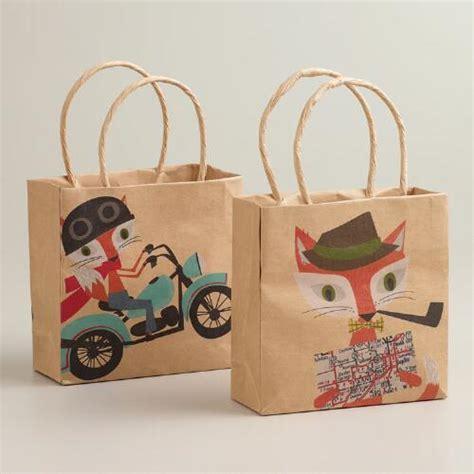 Goodie Bag Bantal Bulu Mini fox hare mini kraft gift bags set of 2 world market