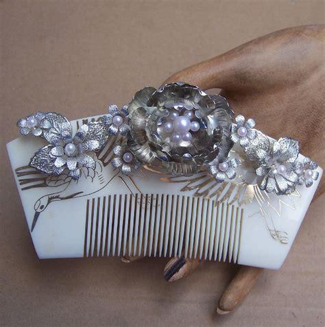 how to comb asian hair vintage japanese hair comb hairpin geisha set silver tone