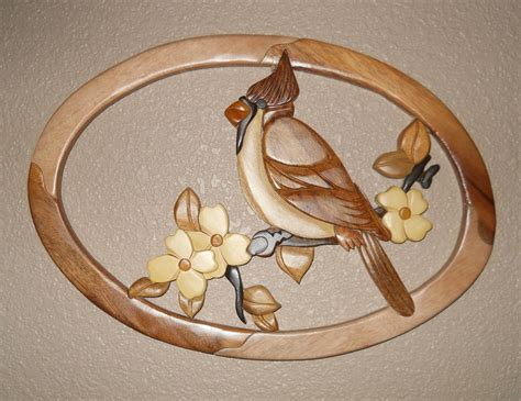 Oval Wall Decor by Cardinal Dogwood Oval Intarsia Wood Wood Decor