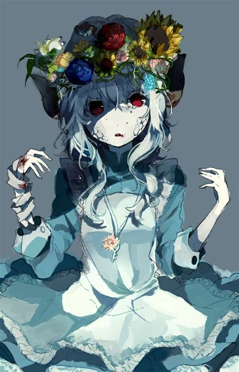 anime zombie anime zombie girl covered in flowers anime pinterest