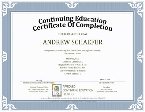 continuing education certificate template images