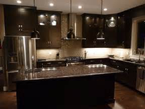 Kitchen Design With Dark Cabinets espresso cabinets and grey brown granite countertops love