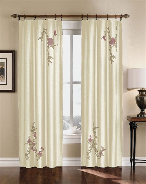embroidered panel curtains floral embroidered faux silk curtain panel 63 95 inch ebay