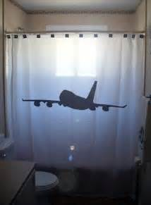 airplane shower curtain jumbo jet bathroom bath decor