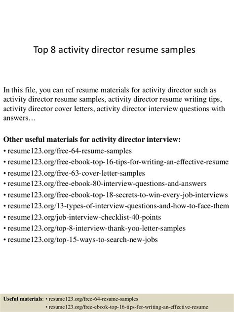 top 8 activity director resume sles