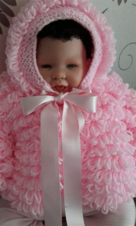 Set Cardi Ribbon by Knitted Baby Pink Loopy Cardi And Bonnet Set 0 3