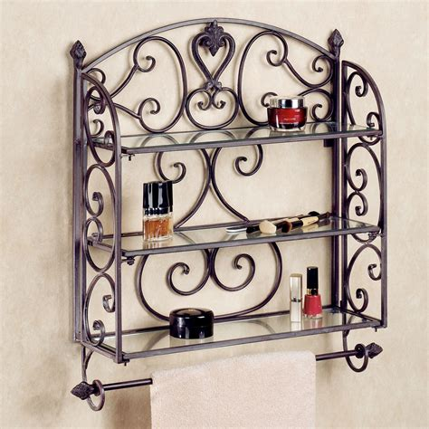 Wrought Iron Bathroom Shelves with Aldabella Tuscan Slate Wall Shelf Towel Bar