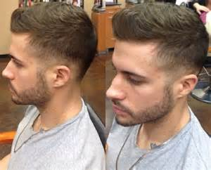 regular mens haircut back to front brushed style undercut hair beard style