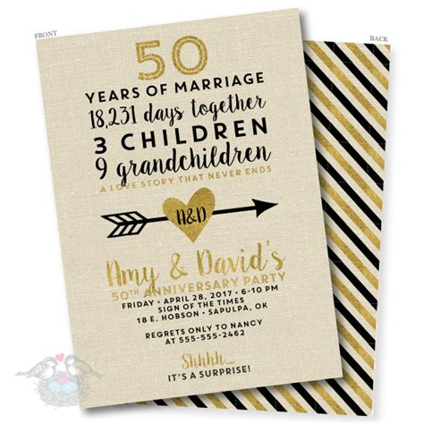 50th Wedding Invitations by Linen And Gold 50th Wedding Anniversary Invitation