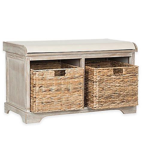 Wicker Storage Bench Buy Safavieh Freddy Wicker Storage Bench In Winter Melody From Bed Bath Beyond