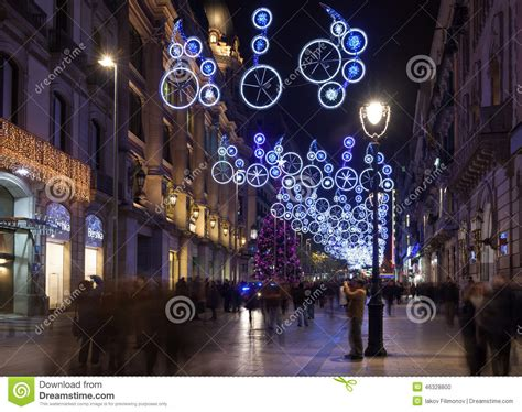 christmas decorations in barcelona spain editorial image