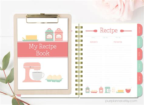 recipe book sections printable recipe book coral and mint recipe binder blank