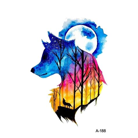 wyuen new design wolf forest night sky fake tattoo