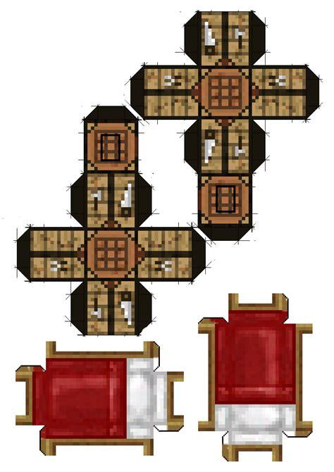 Minecraft Papercraft Crafting Table - papercraft minecraft iii mesa crafting table cama bed