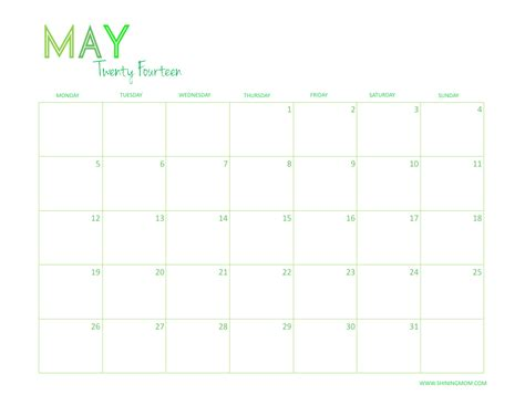 2014 May Calendar Free Printable 2014 Desktop Calendar