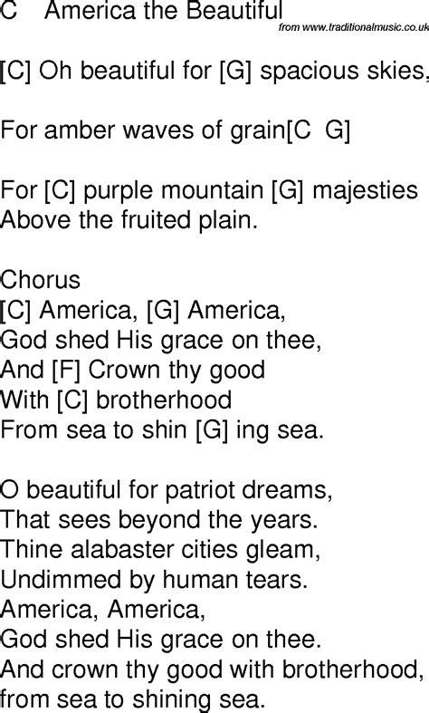 printable lyrics america the beautiful old time song lyrics with chords for america the beautiful