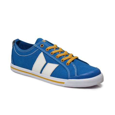 Macbeth Vegan 06 mens dek canvas lace up trainers casual shoes pumps blue
