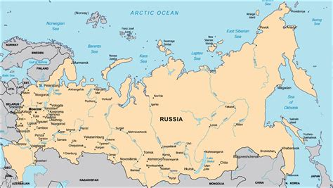 russia map borders russia world map free large images