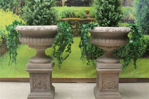 Garden Urns And Planters by Two Big Style Garden Urns Plinths Ornament
