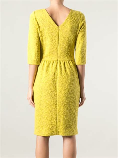 yellow pattern sweater hoss intropia patterned knit sweater dress in yellow