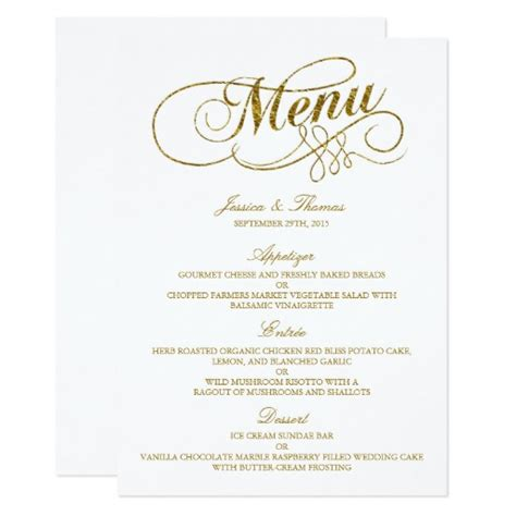 wedding menu sles templates chic faux gold foil wedding menu template card zazzle