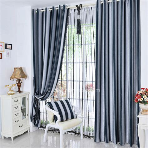 navy blue and gray curtains dark navy blue and gray striped pattern thick suede modern