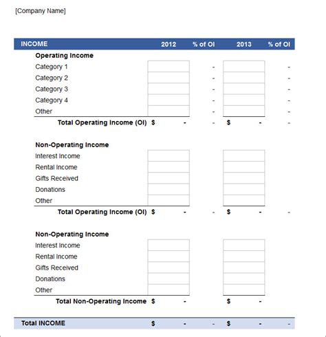 profits and losses template free profit and loss statement template exle with blue