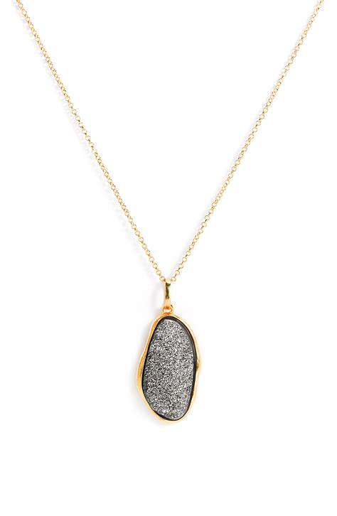 Nordstroms Titanium Apple Necklace by Marcia Oval Drusy Pendant Necklace In Gold
