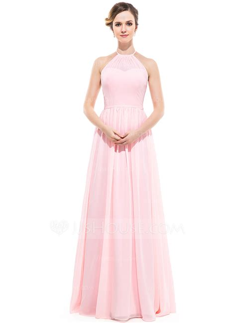Floor Length Bridesmaid Dresses by A Line Princess Scoop Neck Floor Length Chiffon Bridesmaid Dress With Ruffle 007051366 Jjshouse