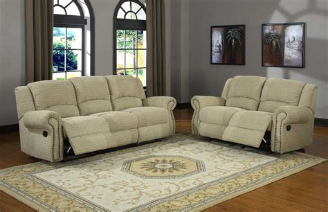 Sofa And Recliner Set Beige Micro Suede Seat And Sofa Set With Recliner And Nail Panel Armrest Of
