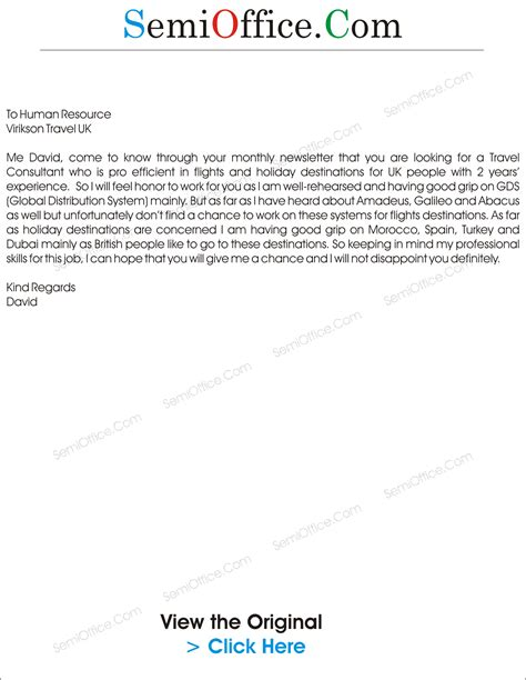 Tour Consultant Cover Letter by Cover Letter For Travel Consultant