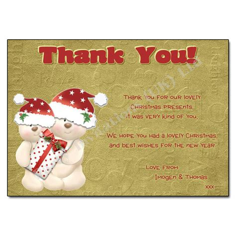 christmas hugs thank you note
