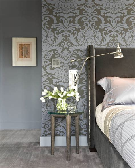 damask bedroom decor gray and blue damask wallpaper transitional bedroom