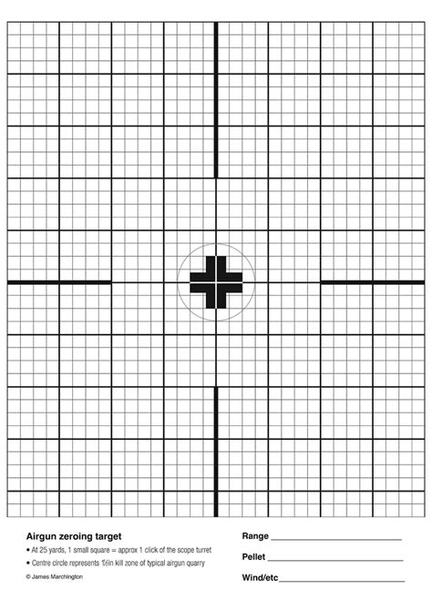 printable zero targets airgun zeroing target print at 100 a4 size for an