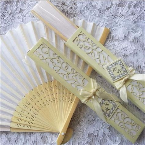 wedding favors at nice prices 20pcs lot pink color silk fan in elegant gift box wedding