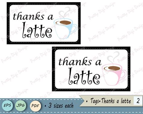 thanks a latte card template thanks a latte gift tags jpg vector eps pdf thank you tag
