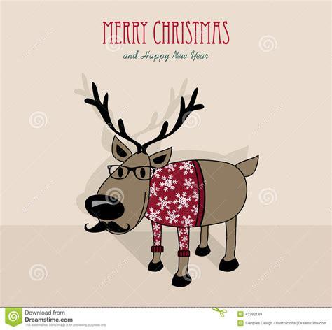 funny happy new year flirt hippie ren der frohen weihnachten und des guten rutsch ins neue jahr vektor abbildung bild