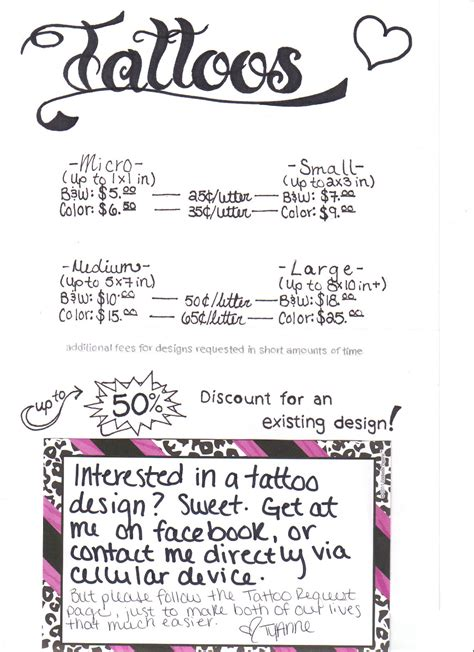 tattoo prices chart femme arts tattoos prices how to request designs