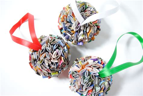 hanging ball ornament made from recycled magazines holiday