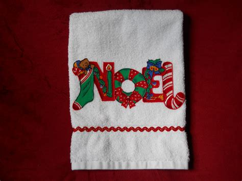 christmas towels bathroom christmas hand towel bathroom or kitchen noel by ds5adventures