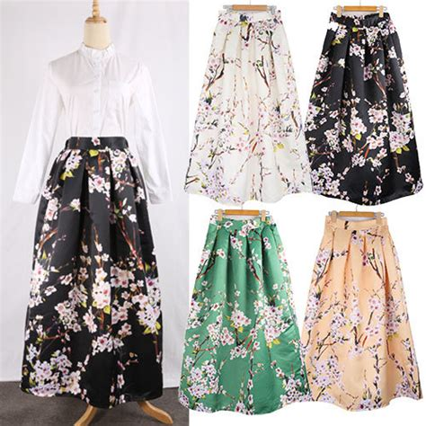 autumn winter pleated floral printed maxi skirt s