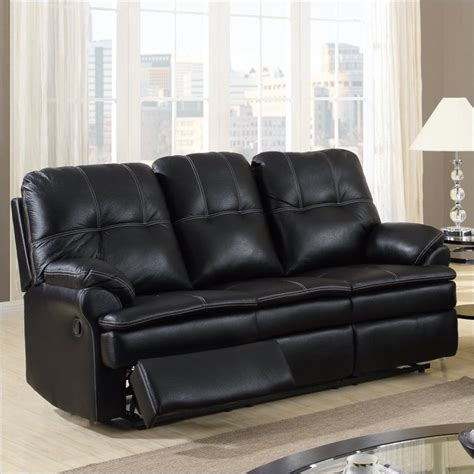 Global Furniture U1078 Microfiber Reclining Sofa Black