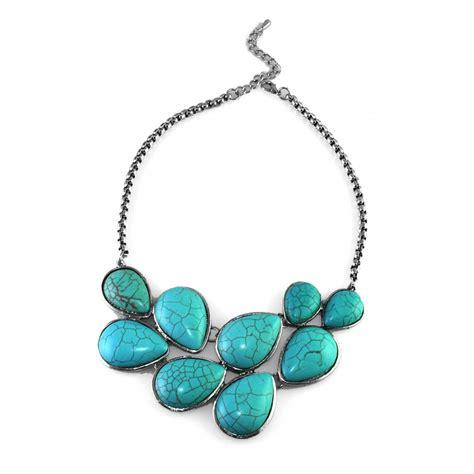 turquoise stone necklace turquoise teardrop stone tibetan silver statement bib necklace