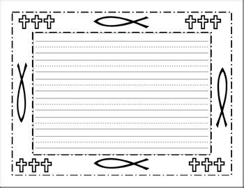 decorative religious border writing paper linedunlined