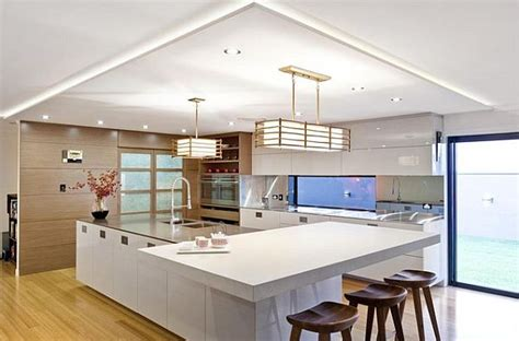 Large Island Kitchen Japanese Modern Kitchen Design With White Furniture And
