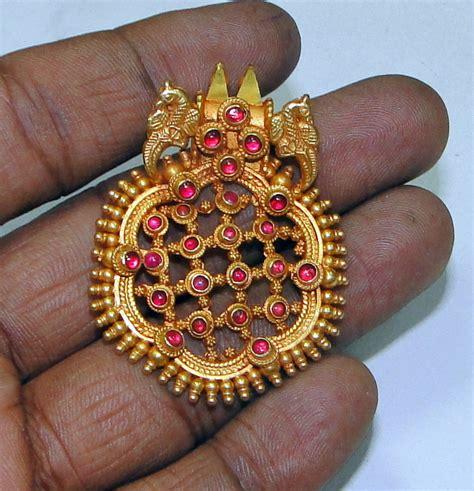 Handmade Indian Jewellery - 22k gold peacock pendant necklace handmade indian