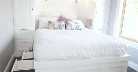 built in wardrobes and platform storage bed the sawdust beautifully maximizing space in a tiny bedroom with built