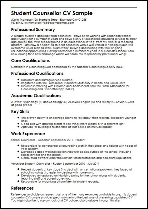 curriculum vitae sles for students student counsellor cv sle myperfectcv